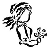 Young beauty wearing a crown with a bouquet of flowers in her hand vector illustration