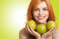 Young beauty woman with apple Royalty Free Stock Photos