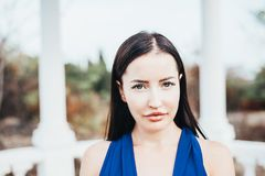 Young beauty woman in a blue dress Stock Image