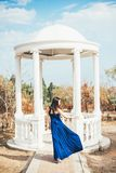Young beauty woman in a blue dress. Walking in a park Royalty Free Stock Photos