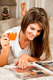 Young beauty woman with a cup of coffee Royalty Free Stock Images