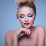 Young beauty woman with eyes closed is smiling royalty free stock photo