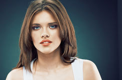 Young beauty woman face. Long Hair Royalty Free Stock Image