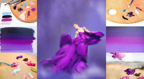 Young beauty woman in fluttering lilac dress Stock Photography