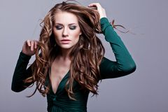 Young beauty woman with flying hair Stock Image