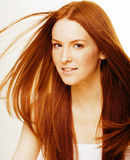 Young beauty woman with ginger hair close up Stock Photography