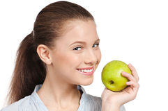 Young beauty woman with green apple Stock Photos