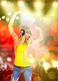 Young beauty woman with headphones Stock Photography