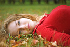 Young beauty woman lie Stock Image