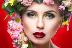 Young beauty woman like Mrs. Spring Royalty Free Stock Photos