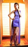 Young beauty woman with long legs in violet dress Royalty Free Stock Image