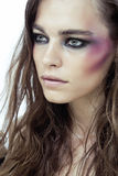 Young beauty woman with makeup like shiner on face Royalty Free Stock Image