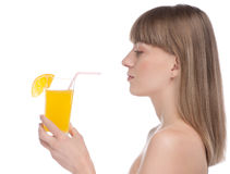 Young beauty woman with orange Stock Images