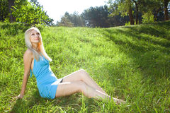 Young beauty woman in park Royalty Free Stock Images