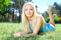 Young beauty woman in park Stock Image