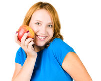 Young beauty woman with red apple Royalty Free Stock Image