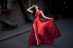 Young Beauty Woman In Red Dress Outdoor Royalty Free Stock Photo