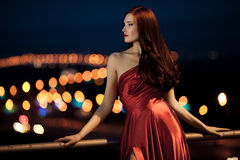 Young Beauty Woman In Red Dress Outdoor Royalty Free Stock Image