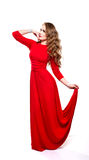Young beauty woman in red dress. Stock Photography