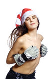 Young beauty woman in santa hat topless Stock Images