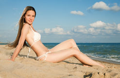 Young beauty woman on sea Stock Photo