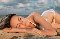 Young beauty woman on sea Stock Photos