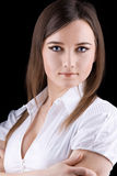 Young beauty woman - serious business portrait royalty free stock photography