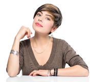 Young beauty woman with short bob hairstyle. Beautiful makeup Royalty Free Stock Images