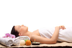 Young beauty woman in a spa with closed eyes Royalty Free Stock Photo