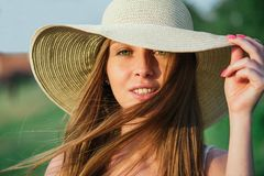 Young beauty woman in summer hat Royalty Free Stock Images