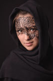 Young beauty woman with tracery on the face Royalty Free Stock Images