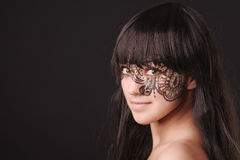 Young beauty woman with tracery on the face Stock Image