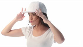 Young beauty woman wearing baseball cap and shirt stock video footage