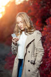 Young beauty woman writing message on cell phone Royalty Free Stock Photos