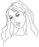 Young beauty women sketch - EPS Royalty Free Stock Image