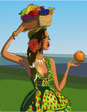 Young beautyful brunette. With exotic flowers on her hairs stock illustration