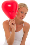 Young beautyful caucasian woman with balloon Royalty Free Stock Photo