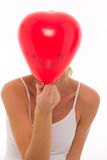 Young beautyful caucasian woman with balloon Royalty Free Stock Photos