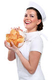 Young beautyful woman baker Stock Photo