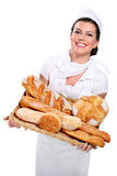 Young Beautyful Woman Baker Royalty Free Stock Photography