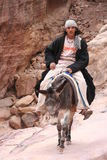 Young Bedouin riding his donkey royalty free stock image