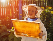 Young beekeeper boy holding frame of honeycomb Stock Images