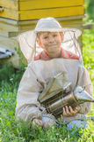 Young beekeeper with painted wooden beehives Royalty Free Stock Photos