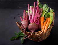 Young beetroot and carrots with a tops in a basket Royalty Free Stock Photos