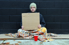 Young beggar. Young man sitting on sidewalk in city, begs for change on cold autumn day. Holds blank cardboard sign for your text Stock Images