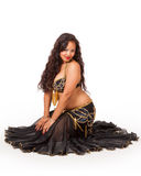 Young belly dancer in black costume Royalty Free Stock Photo