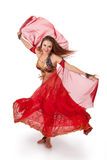 Young belly dancer in motion Royalty Free Stock Photos