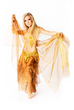 Young belly dancer. Portrait of young belly dancer in golden costume against white background Stock Images
