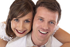 Young, beloved, happy couple smiles at camera Stock Photo
