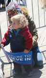 Young Bernie Sanders supporter during presidential candidate Bernie Sanders rally  at iconic Coney Island boardwalk Royalty Free Stock Photo